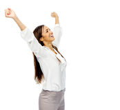 Businesswoman celebration Stock Image