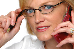 Businesswoman on the cell phon Stock Images
