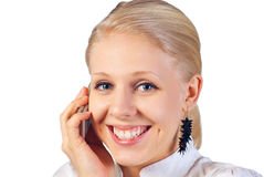 Businesswoman with cell phone. Happy smiling successful businesswoman with cell phone. Isolated on white background Stock Photography