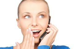 Businesswoman with cell phone Stock Images