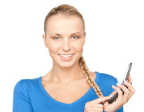 Businesswoman with cell phone. Bright picture of businesswoman with cell phone Royalty Free Stock Photos