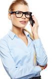 businesswoman with cell phone. Stock Photography