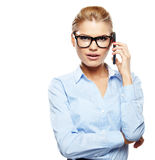 Businesswoman with cell phone. Happy smiling successful businesswoman with cell phone Stock Photos