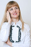 Businesswoman with cell phone,  on white. Businesswoman with cell phone,  on white Stock Photo