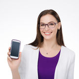 Businesswoman with cell phone Stock Photo