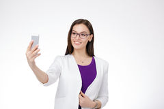 Businesswoman with cell phone Royalty Free Stock Photo