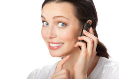 Businesswoman with cellphone stock photo