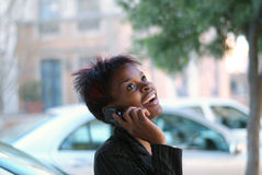 Businesswoman and cellphone Royalty Free Stock Image