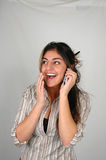 Businesswoman and cellphone-3 stock photo