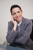 Businesswoman on the cellphone behind her desk Stock Image
