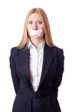 Businesswoman in censorship concept isolated Stock Photos