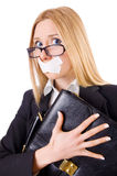 Businesswoman in censorship concept isolated Stock Photo