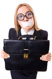 Businesswoman in censorship concept isolated Royalty Free Stock Photos