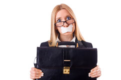 Businesswoman in censorship concept isolated Stock Image