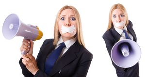 The businesswoman in censorship concept isolated on white Royalty Free Stock Photos