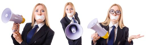 The businesswoman in censorship concept isolated on white Royalty Free Stock Photo