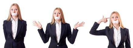 The businesswoman in censorship concept isolated on white Royalty Free Stock Images
