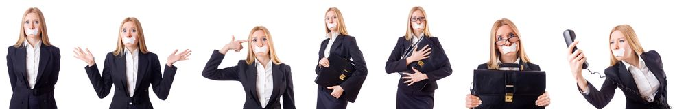 Businesswoman in censorship concept isolated on white Royalty Free Stock Photos