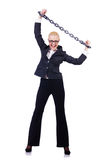 Businesswoman with chain isolated Royalty Free Stock Images