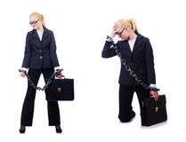 The businesswoman with chain isolated on the white Royalty Free Stock Image