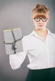 Businesswoman with chained document file. Stock Images