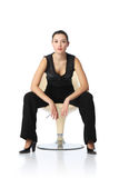 Businesswoman in chair. Asian businesswoman sitting in chair, white background royalty free stock photo