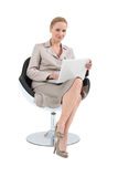 Businesswoman on chair royalty free stock photography