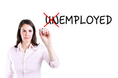 Businesswoman change unemployed to employed. Isolated on white. Stock Photos