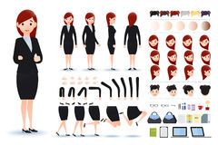 Businesswoman Character Creation Kit Template with Different Facial Expressions. Hair Colors, Body Parts and Accessories. Vector Illustration stock illustration