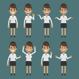 Businesswoman character in different poses Royalty Free Stock Images