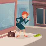 Businesswoman Character with Magnifying Glass and Stock Photo