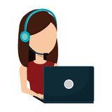 Businesswoman character operator call center icon. Vector illustration design Stock Photo