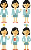 Businesswoman character set in different poses Royalty Free Stock Image