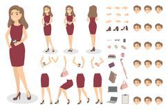 Businesswoman character set. Businesswoman character set with poses and emotions Stock Photo
