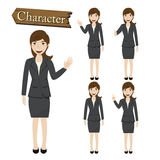 Businesswoman character set vector  illustration Royalty Free Stock Photos