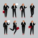 Businesswoman character. Young female professional vector illustration, business woman standing, calling by phone and. Pointing poses on white royalty free illustration
