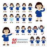 20 businesswoman characters. Collection of 20 businesswoman characters Royalty Free Stock Image