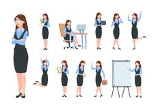 Businesswoman characters. Office professional woman, female in different poses of business activity. Flat cartoon vector illustration