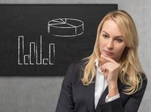 Businesswoman and chart Stock Image