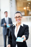 Businesswoman check in Royalty Free Stock Image