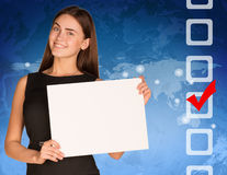 Businesswoman with checkboxes and world map. Businesswoman hold white paper. Checkboxes and world map as backdrop Stock Images