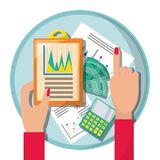 Businesswoman checking the financial documents. Vector illustration Royalty Free Stock Images