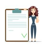 Businesswoman with checklist. Happy young woman Shows victory sign . Stock vector illustration Royalty Free Stock Photo