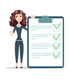 Businesswoman with checklist. Happy young woman .thumbs up. Stock vector illustration Stock Images
