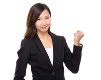 Businesswoman cheer up. Isolated on white background stock images