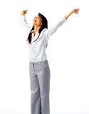 Businesswoman cheering Royalty Free Stock Photo