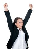 Businesswoman cheering Royalty Free Stock Image