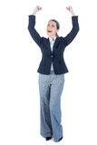 Businesswoman cheering with arms up Royalty Free Stock Image