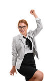 Businesswoman cheering. A portrait of a businesswoman cheering isolated on white background Stock Photography