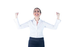 Businesswoman cheering up with her eyes up Stock Image